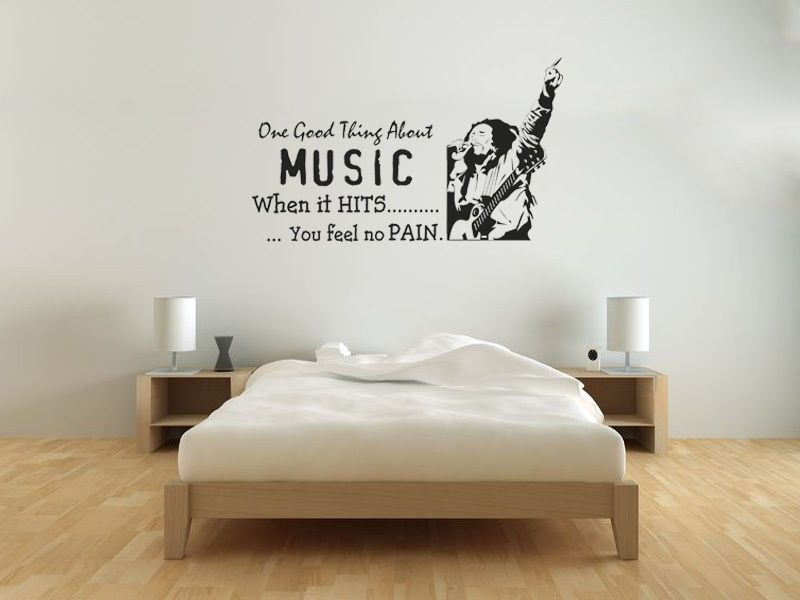 bob marley - when the music hits wall art quote wall sticker